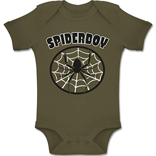 Karneval und Fasching Baby - Spiderboy - 12-18 Monate - Olivgrün - BZ10 - Baby Body Kurzarm Jungen - Lustige Gruppe Kostüm Für Jungs