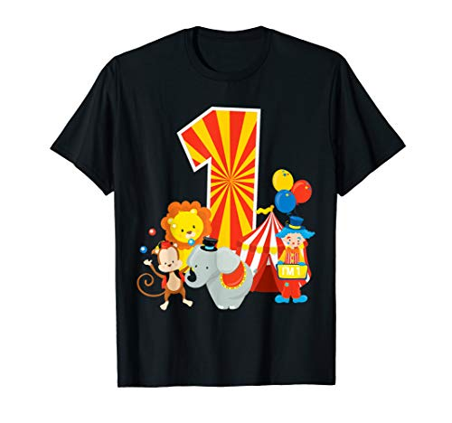 1 Geburtstag Jungen Mädchen Zirkus Thema Geburtstagsparty T-Shirt