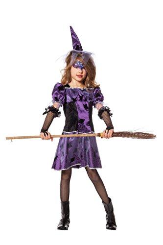 (Karneval-Klamotten Hexen-kostüm Kinder Hexe für Mädchen Hexenkostüm schwarz lila Spinne Halloween Hexenkleid MIT Hexenhut 152)