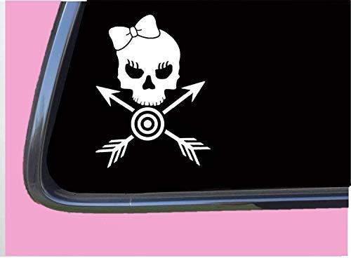 Bogenschießen Mädchen gekreuzte Knochen 15,2 cm Aufkleber Sticker Pfeil Zielscheibe Bullseye