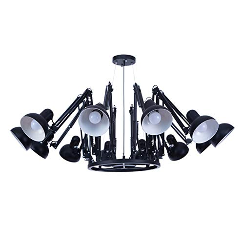 Schwarzen Anzug Spider (Moderne Spider Stretch Kronleuchter,12 Eisen Schwarz Pendelleuchte Kreativ Wohnzimmer Schlafzimmer Regentropfen Bar Pendant Lampen)