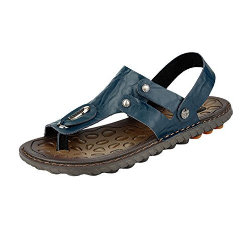 Yiiquan uomo infradito sandali sportivi scarpe da spiaggia uomo sandali a punta aperta spiaggia di vacanza pantofole estive sandali da surf ciabatte blu 44