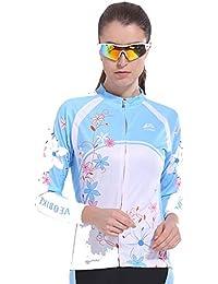Beydodo Traje de Ciclismo Camisetas Manga Larga Hombre Ropa de Bicicleta Azul Rosa Al Aire Libre