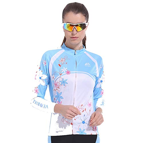 SonMo Damen Fahrrad Trikot Sportbekleidung Reitanzug Fahrradanzug Mountain Biking Anzug Fahrradkleidung Radtrikot Jersey Fahrradshirts Sportjacke Langarm Frühling und Herbst Blau Rosa L