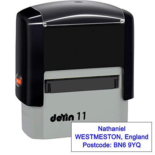 Timbri Personalizzati (38 x 14 mm-3 righe)- Timbro autoinchiostrante, personalizzabile- Ritorna il timbro dell'indirizzo personalizzato, Blu