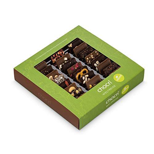 """Vegane Weltreise von chocri - 24 kleine Schoko-Tafeln aus milchfreier/laktosefreier Zartbitterschokolade und \""""Vegolade\"""" - handbestreut mit veganen Zutaten aus aller Welt - Fairtrade-Kakao - das perfekte vegane Geschenk für Frauen, zum Geburtstag oder zum selber naschen - ohne tierischen Produkten - CO²-neutral"""