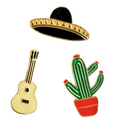 Gudeke Cactus Guitar Planet Set Brooch Shirt Corsage Brooch and Pin for Women Children