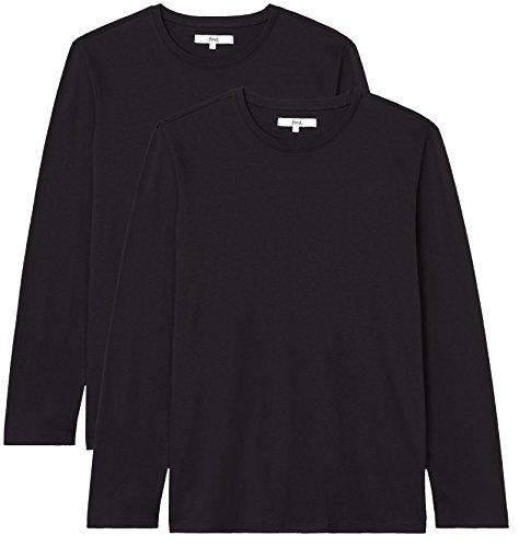 Find t-shirt regular fit a manica lunga uomo, pacco da 2, nero (black), 50 (taglia produttore: medium)