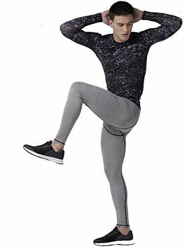 FITUP LIFE Men Full Pants Polyester & Spandex Compression - Grey {Size : XXL}
