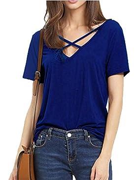 Blusas Camisas Camisetas Tops Manga Corta V-Cuello Cruz para mujer