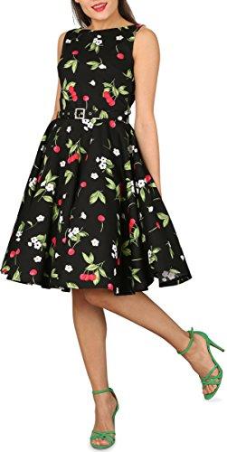 BlackButterfly 'Audrey' Vestido Vintage Joy Años 50 (Negro Rojo, ES 5