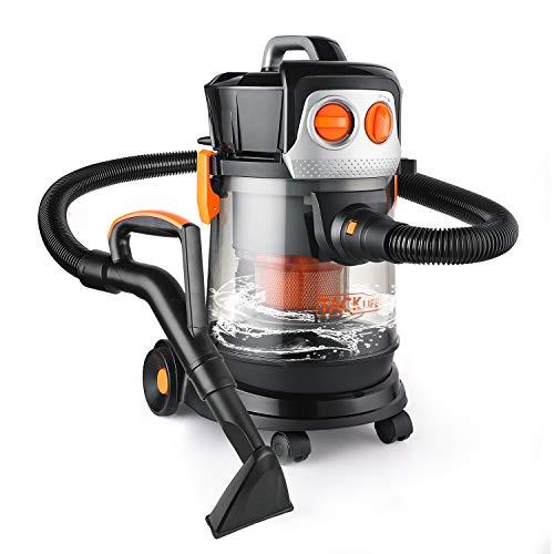 Aspiratore solidi e liquidi 17,5kpa, tacklife 1000w aspiratore ciclonico e silenzioso (70db), 3 in 1 aspiratori trasparente, 5m cavo di alimentazione, per giardino, garage, cucina - pvc02d