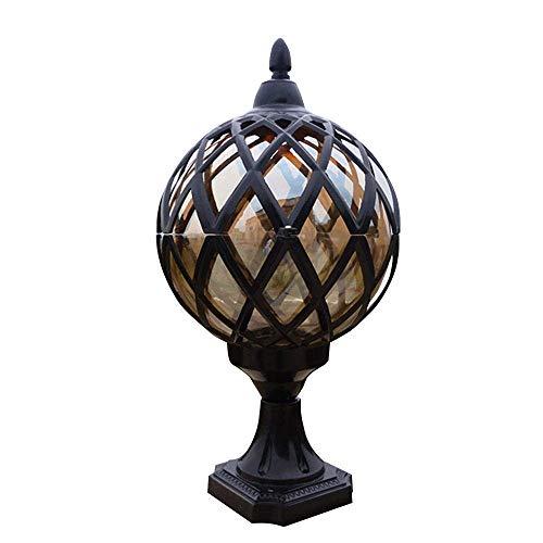 XGFYW Vintage Sockelleuchte Pfeilerlampe E27 Kugel Außenlampe wasserdichte IP44 Schwarz Aluminium Glas Laterne Sockellampe Garten Terrasse Balkon Gemeinschaft Eingang Beleuchtung,φ20*45CM