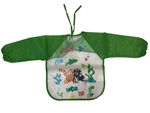 Bluum bavaglio bavaglino camice grembiule colorato da pittura per colorare a scuola in casa grembiulino in plastica impermeabile maniche lunghe comode tasche per bimbi bambini e bambine da 2 a 5 anni (maschio)