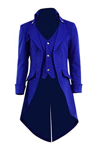 Herren Steampunk Gothic Frack Jacke Halloween Kostüm Viktorianischen Wolle Langen Mantel (Blau, XXXL)