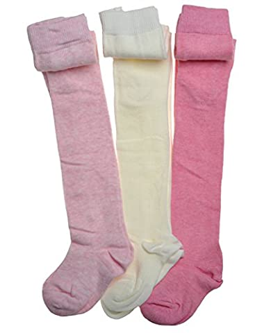3 Paires de Collants Bébé - Rose et Gris en