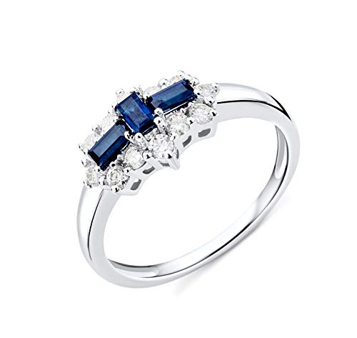 Miore Ring Damen Saphir und Diamant Verlobungsring Weißgold 9 Karat / 375 Gold mit blauer Saphir 0.62 Ct und Diamanten Brillanten 0.35 Ct, Schmuck (Saphir-verlobungsringe Für Sie)