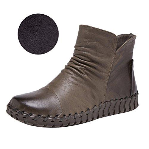 Vogstyle Damen Vintage Handgefertigte Lederstiefel Flach Stiefel Art 2 Fleece Khaki