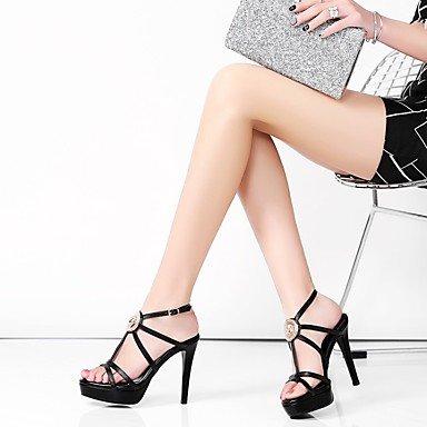 LvYuan Da donna Sandali Pelle Primavera Estate Bianco Nero Rosso 5 - 7 cm Black