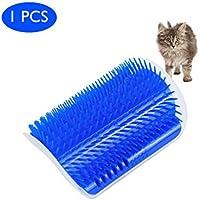 Cepillo autogrietador Cat con Catnip-Wall Montado en la esquina Montado en masajes Peine-Ayuda a prevenir bolas de pelo y controles Shedding-Safe & Comfortable(blue)