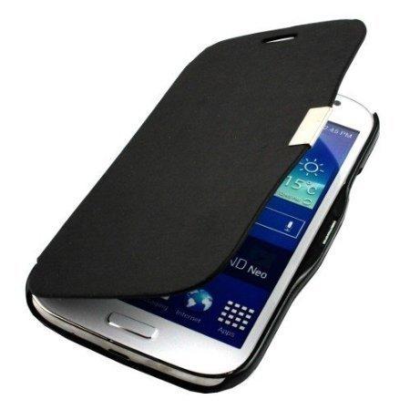 Custodia Flip Cover Plastica Pelle Nero per Samsung Galaxy Grand Neo i9060 + 2 pellicole