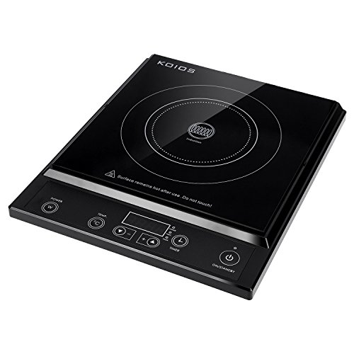Placa de cocina, Placa de inducción de 2000W, Koios Cocina de inducción multifuncional con encimera y temporizador, 10 ajustes de calor y controles de nivel de potencia con pantalla LED, negra