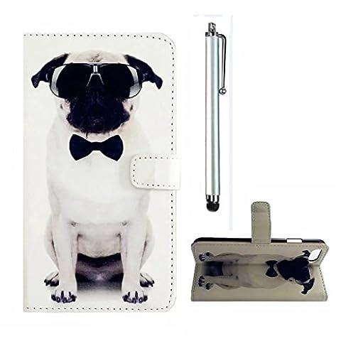 MUTOUREN LG K7 Wallet CaseMagnetic Flip Stand Case slim flip protection Detachable Hand StrapCard Slots- handsome dog