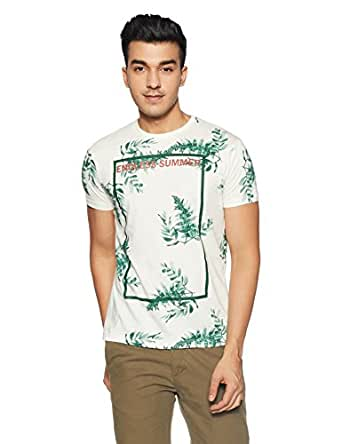 People Men's Printed Regular Fit T-Shirt (P1C109318ELE015_White_M)