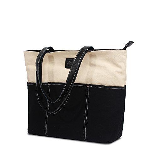 Bwiv Damen Handtasche Canvas Schultertasche Lässige Umhängetasche Große Kapazität Shopper Tasche Schöne Vintage Henkeltasche Beuteltasche Weinrot Schwarz