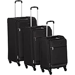 AmazonBasics Juego de maletas blandas giratorias, 53, 63 y 74 cm, Negro