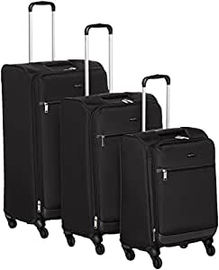 AmazonBasics Set of 3 (53 cm + 64 cm + 74 cm) Black Softsided Trolleys