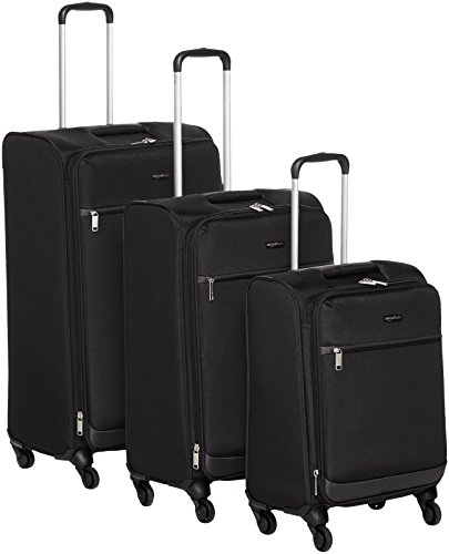 AmazonBasics - Roll-Reisetrolleys, 3-teiliges Set (53 cm, 64 cm, 74 cm), Schwarz