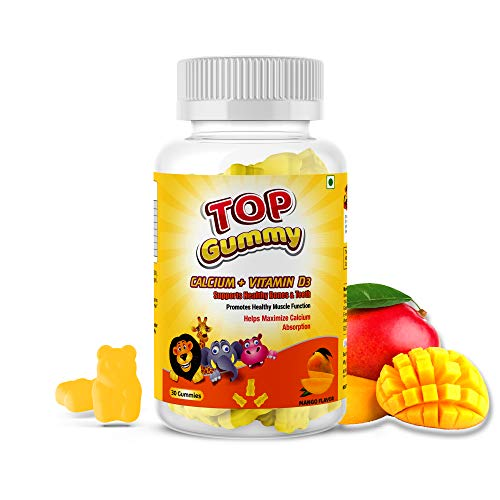 Top Gummy Calcium + Vitamin D3, for Healthy Bones and Teeth - 30 Gummies (Mango)