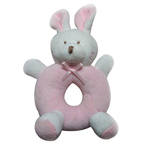 Yeahibaby Sonajero para bebés Peluches felpa Recién nacidos Cuna Juguete Anillo redondo Conejos Conejito Regalos únicos para duchas (Rosa)