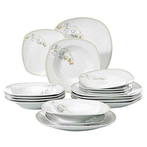 Veweet EMILY 18pcs Assiettes Pocelaine Service de Table 6pcs Assiettes Plates 24,7cm, 6pcs Assiette Creuse 21,5cm, 6pcs Assiette à Dessert 19cm Vaisselle pour 6 Personnes Design