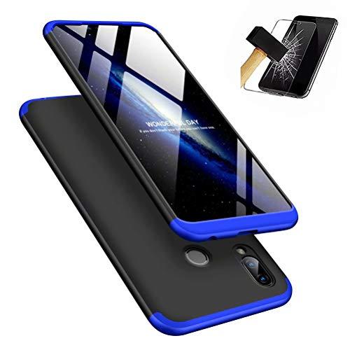 MISSDU kompatibel mit Premium Hart PC 360 Grad Hülle Huawei Honor Play Hülle + Panzerglas,3 in1 Handytasche Handyhülle Schutzhülle Cover - Schwarz+Blau