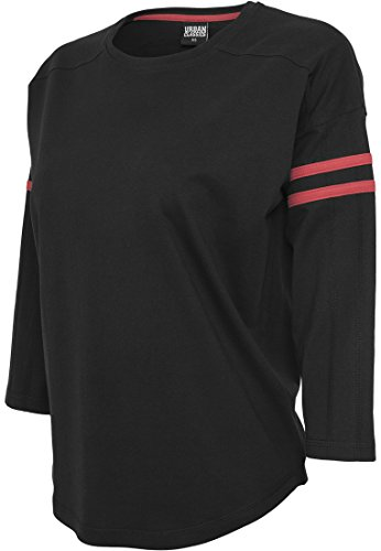 URBAN CLASSICS - Ladies Sleeve Striped L/S Tee (black/red), Gr. L (Striped L/s Tee)