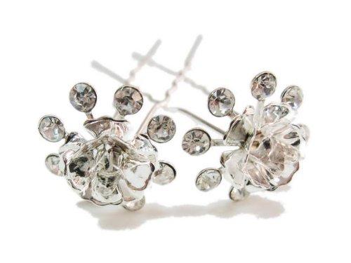 rougecaramel - Accessoires cheveux - Epingle cheveux en cristal / pic à cheveux mariage lot 2pcs