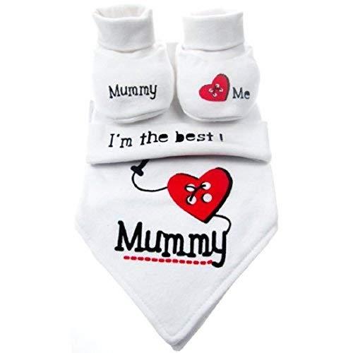 NOUVEAU-NÉ/0-3 MOIS BÉBÉ GARÇON OU FILLE UNISEXE SOFT TOUCH MAMAN/DADDY AIME MOI/I LOVE/I'M LE MEILLEUR BANDANA BAVOIR, CHAPEAU & BOTTINES/DOUX CHAUSSURES SET CADEAU - Mummy SET, 0-3 Months
