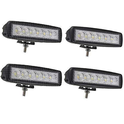 4 X 18W LED Arbeitsscheinwerfer Light Bar Arbeitslicht - LED Zusatzscheinwerfer IP67 Aluminium für Reflektor Offroad Agrar Traktor Slim Quad