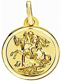 Medalla oro 18k San Jorge 16mm. lisa bisel [AA2656GR] - Personalizable - GRABACIÓN INCLUIDA EN EL PRECIO