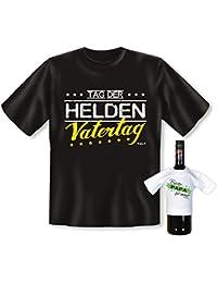 Vatertag Geschenke Set für Papa Väter Vatertagsgeschenk Cooles T-Shirt TAG der HELDEN - Geschenk und BESTER PAPA Flaschenshirt :)