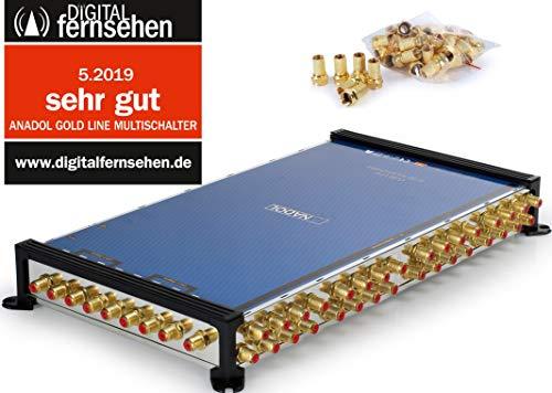 Anadol Gold Line 9/32 digitaler Multischalter [ Test SEHR GUT ] Multiswitch für 2 Satelliten und 32 Ausgänge/Receiver - mit externem Netzteil - 41 vergoldete F-Stecker gratis