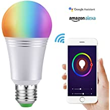 Bombilla Wifi inteligente con Color regulable LED 60W equivalente 650 LM de dispositivo inteligente y Control de voz por Amazon Alexa y Google Home No requiere concentrador (Luz blanca 7W 6000K E27)