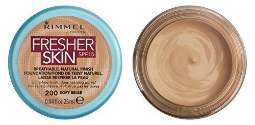Rimmel London Fresher Skin Foundation, 200 Soft Beige, 25 ml