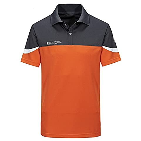 emansmoer Hommes Manches courtes Golf Polo T-shirt Fitness Respirant Outdoor Sport Quick Dry Wicking Tee Tops (Large, Orange)
