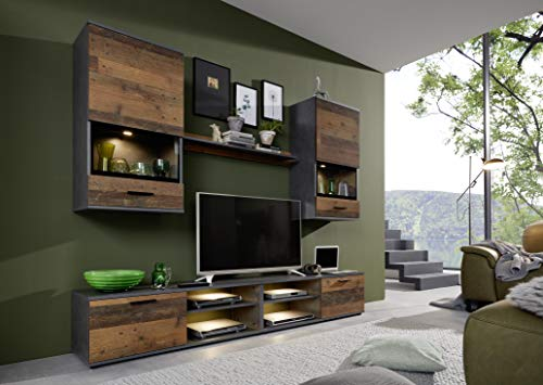 trendteam smart living Wohnzimmer 5-teilige Set Kombination Mango, 231 x 182 x 37 cm Front Old Wood, Korpus und Absetzung Matera mit viel Stauraum