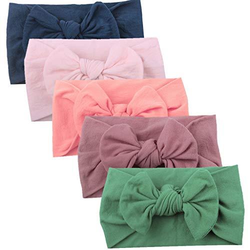 by Kleinkind Turban Stirnband Haarband Bow Zubehör Headwear 5PC Neugeborene Kopfdeckung Süße Schleife Jersey Slouch Hut Stirnband (D) ()