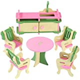 Webby Wooden Doll House Dining Room Furniture Play Set, Multicolor
