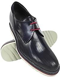 ZERIMAR Zapatos con alzas interiores para caballeros Aumento + 7 cm Zapato fabricado en piel vacuna de alta calidad Color azul marino